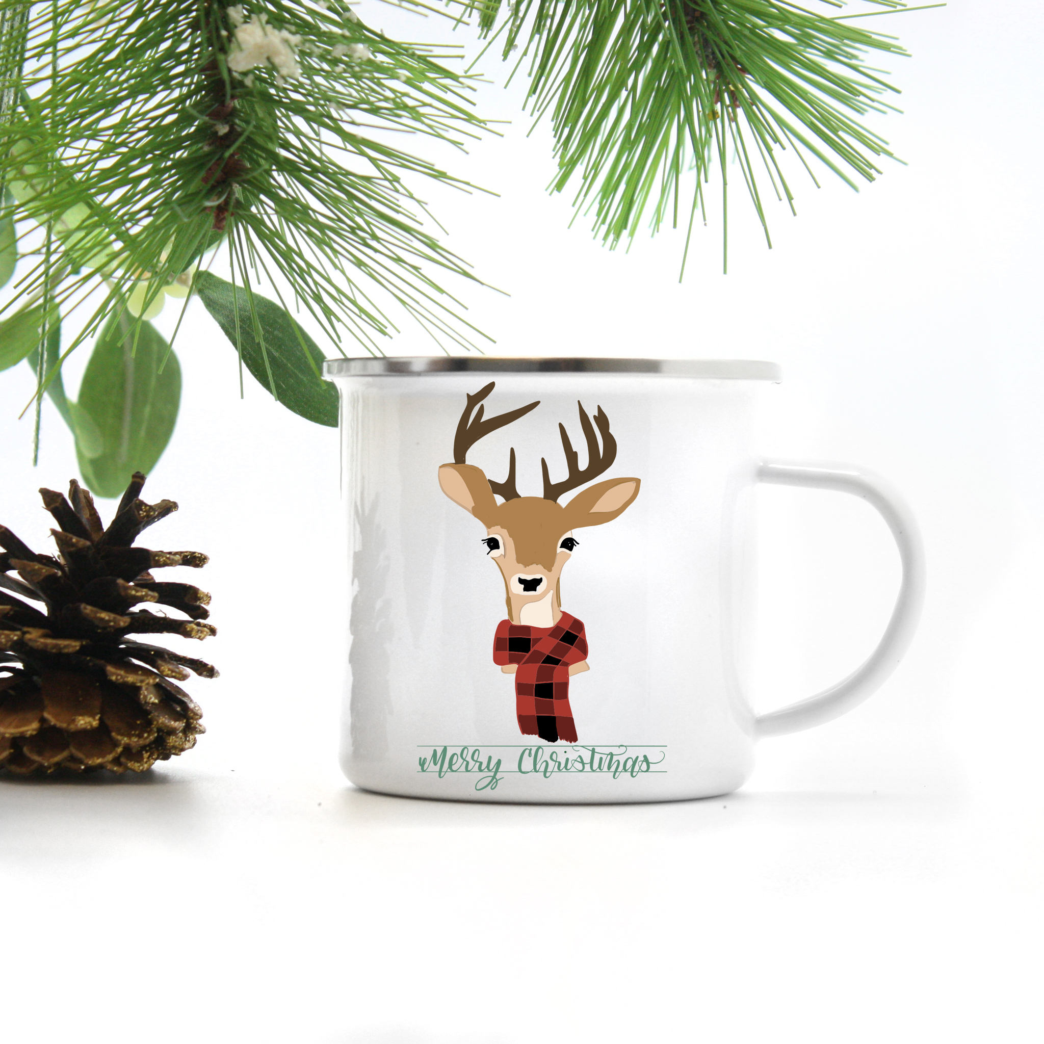 Christmas Coffee Mugs.Reindeer Christmas Coffee Mug