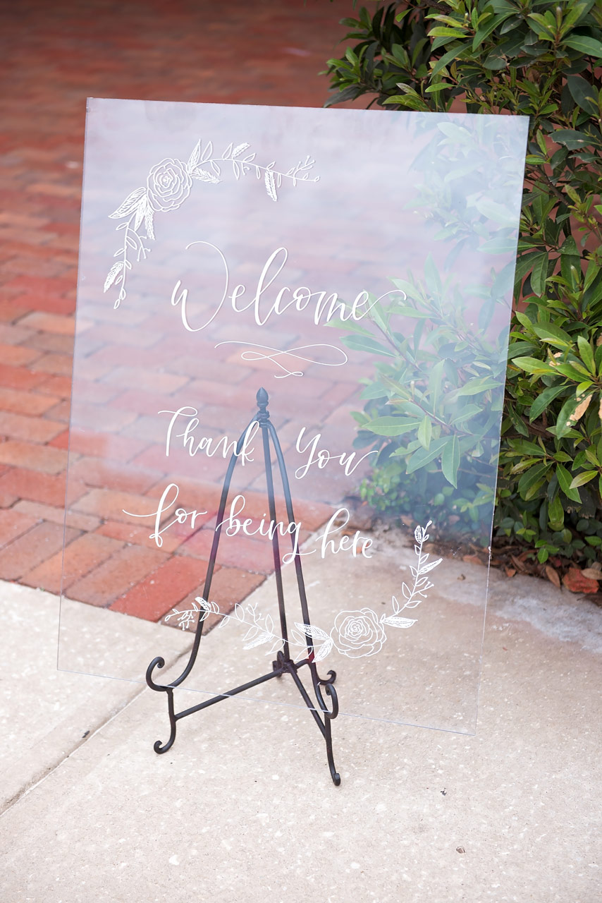 Acrylic Wedding Sign with Handlettering