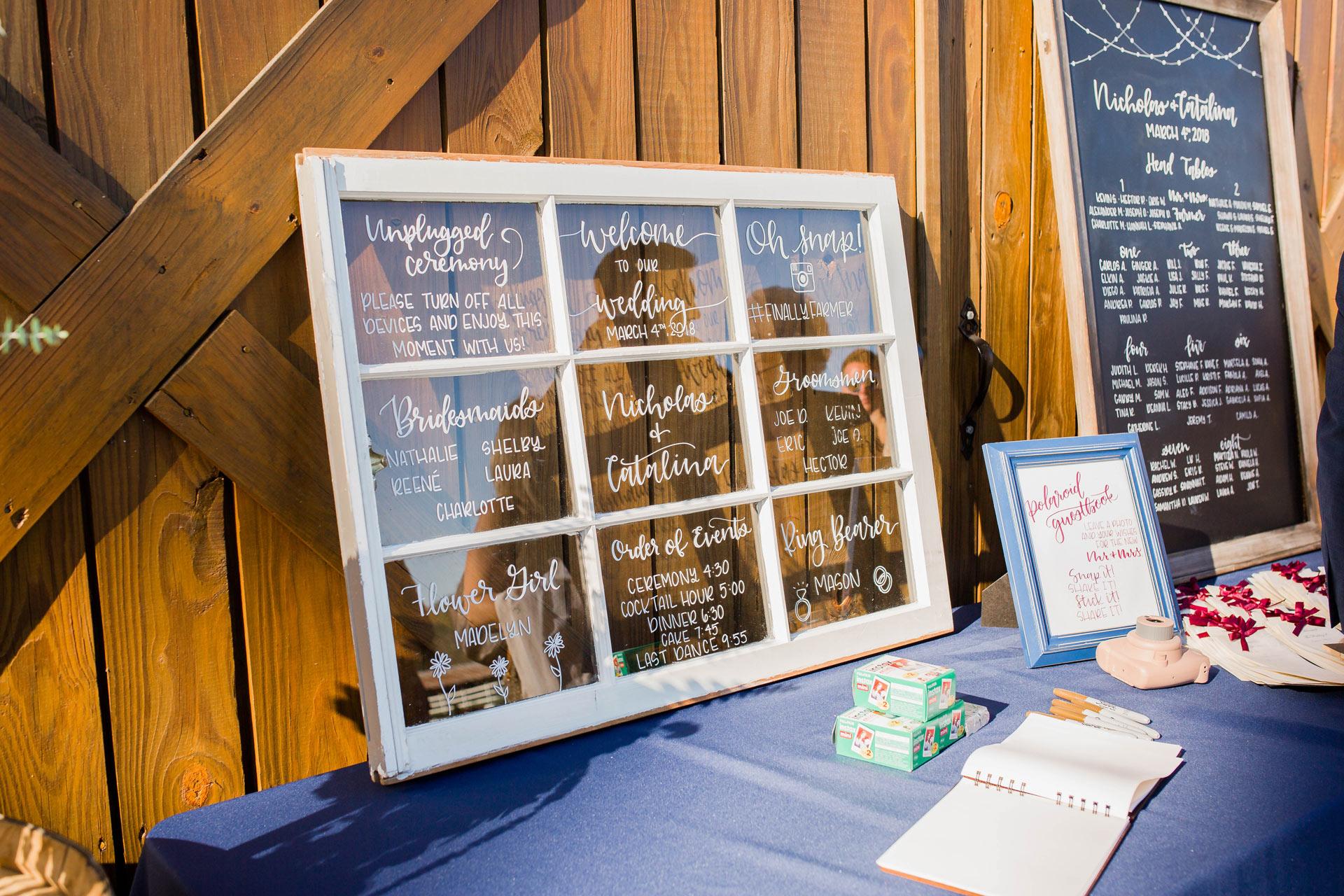 Handlettered Window - Wedding Decor Rental