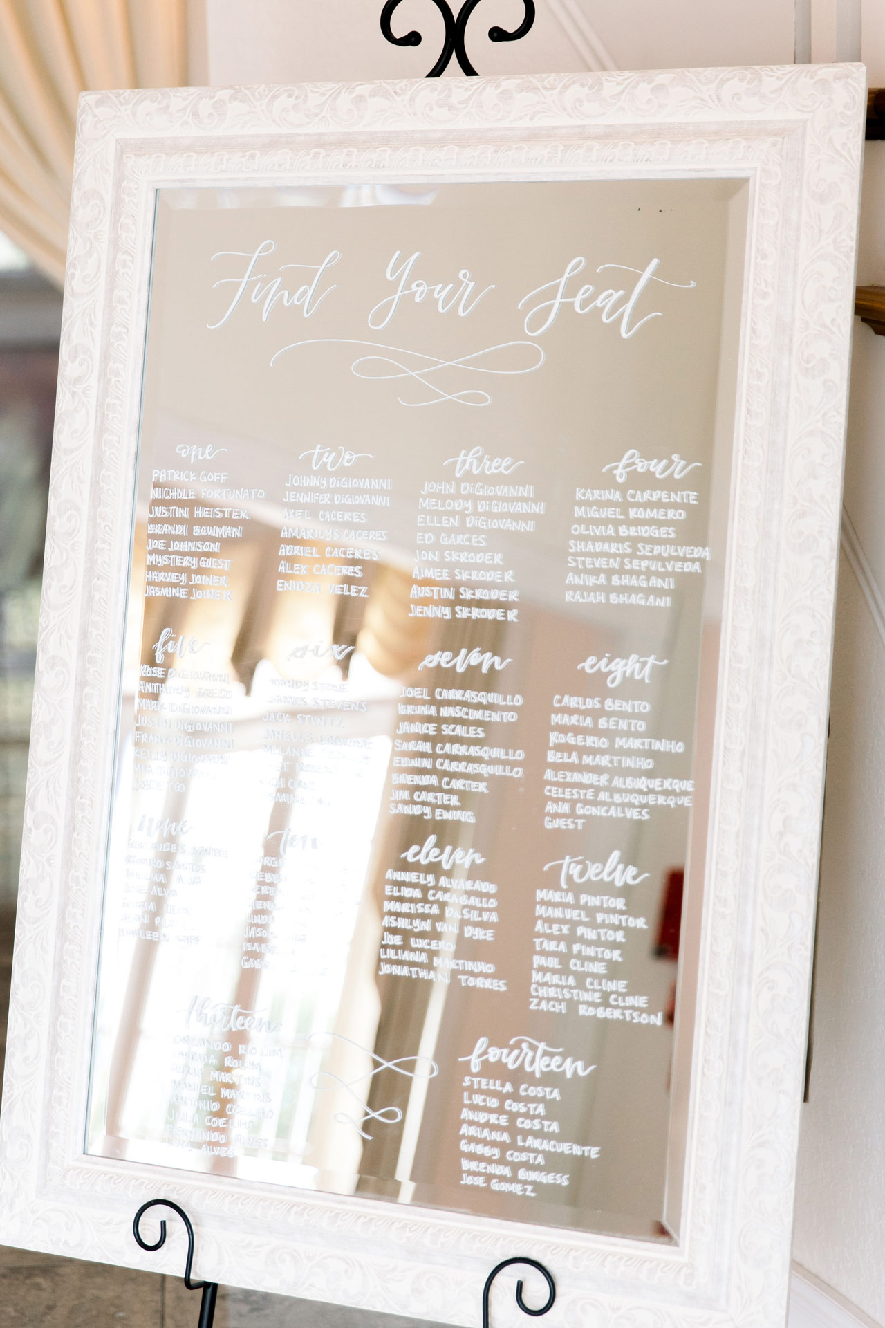 Handlettered Seating Chart for Weddings