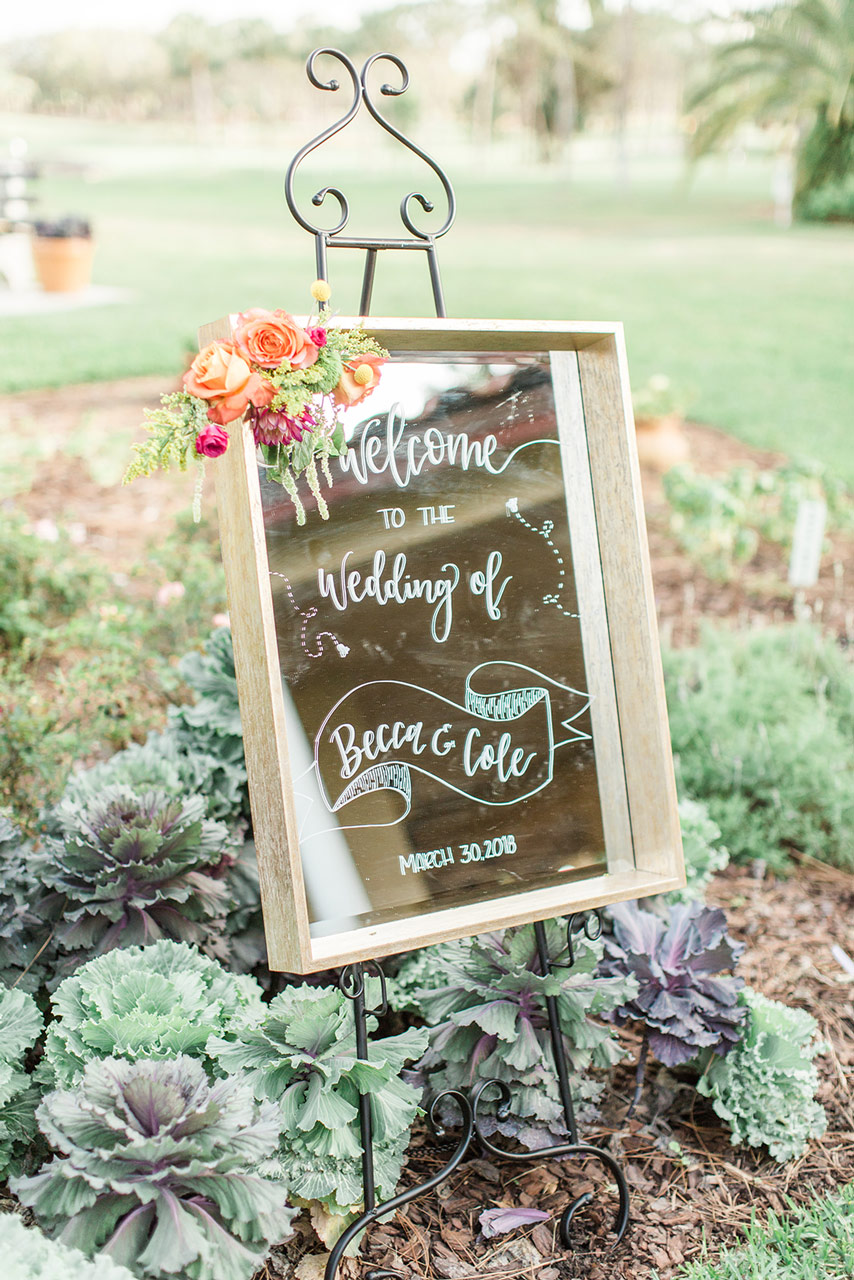Floral Handlettered Wedding Welcome Sign