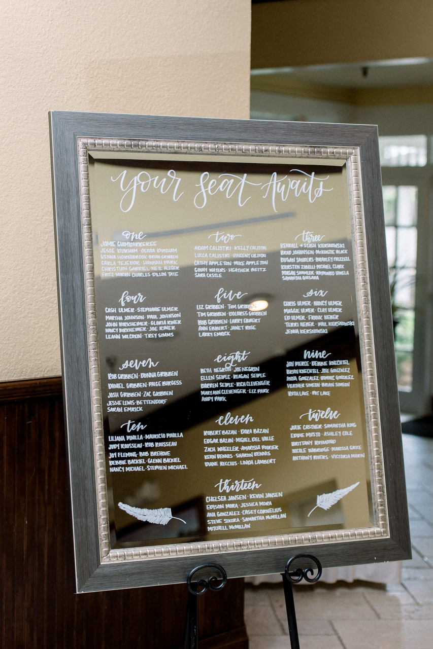 Handlettered Wood Frame Mirror Wedding Seating Chart